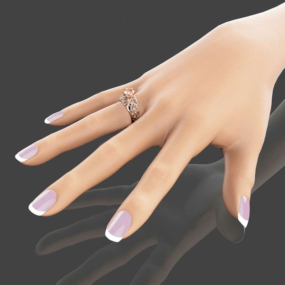 14K Rose Gold Morganite Engagement Ring Unique Filigree Design Ring Floral Rose Gold Engagement Ring Art Deco Styled Morganite Ring
