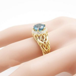Unique Topaz Engagement Ring 14K Yellow Gold Halo Ring 2 Carat London Blue Topaz Ring Art Deco Styled  Ring Filigree Engagement  Ring