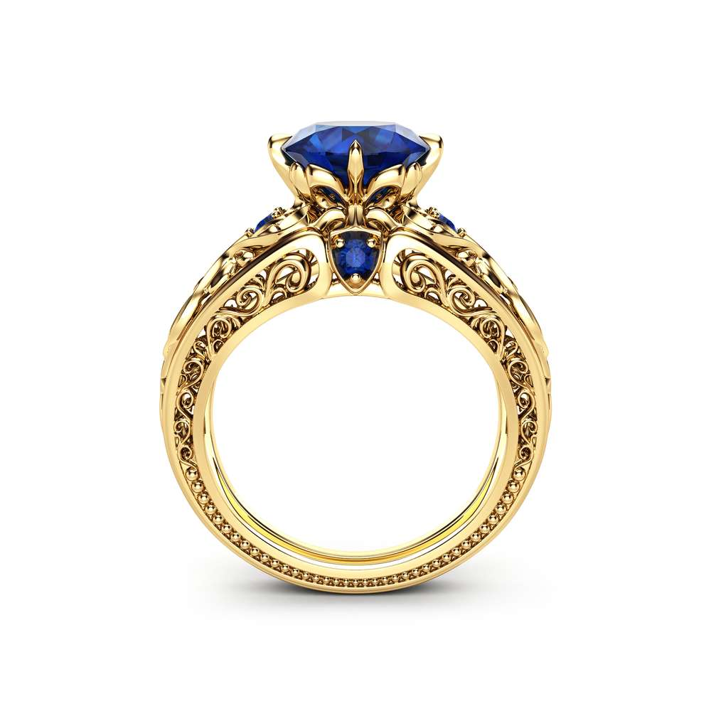 2 Carat Blue Sapphire Ring  14K Yellow Gold Engagement Ring Art Deco Styled Sapphire Ring Unique Alternative Ring