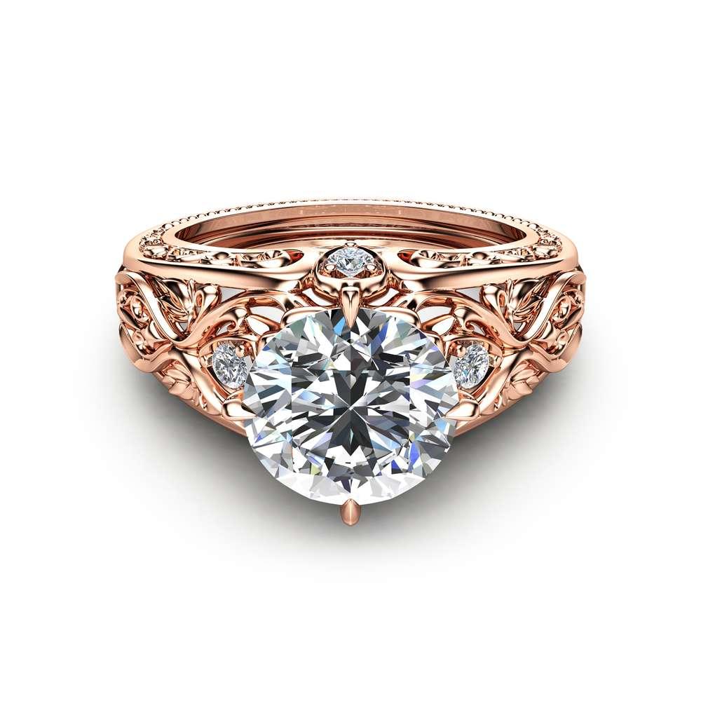 14K Rose Gold Engagement Ring Unique Design 2 Carat Moissanite Ring Art Deco Styled Rose Gold Ring