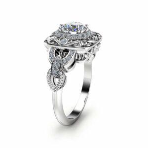 Natural Diamond Victorian Engagement Ring Art Deco Diamond Engagement Ring 14K White Gold Victorian Ring