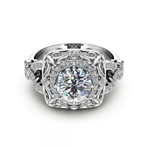 Natural Diamond Victorian Engagement Ring Art Deco Diamond Engagement Ring 14K White Gold Victorian Ring