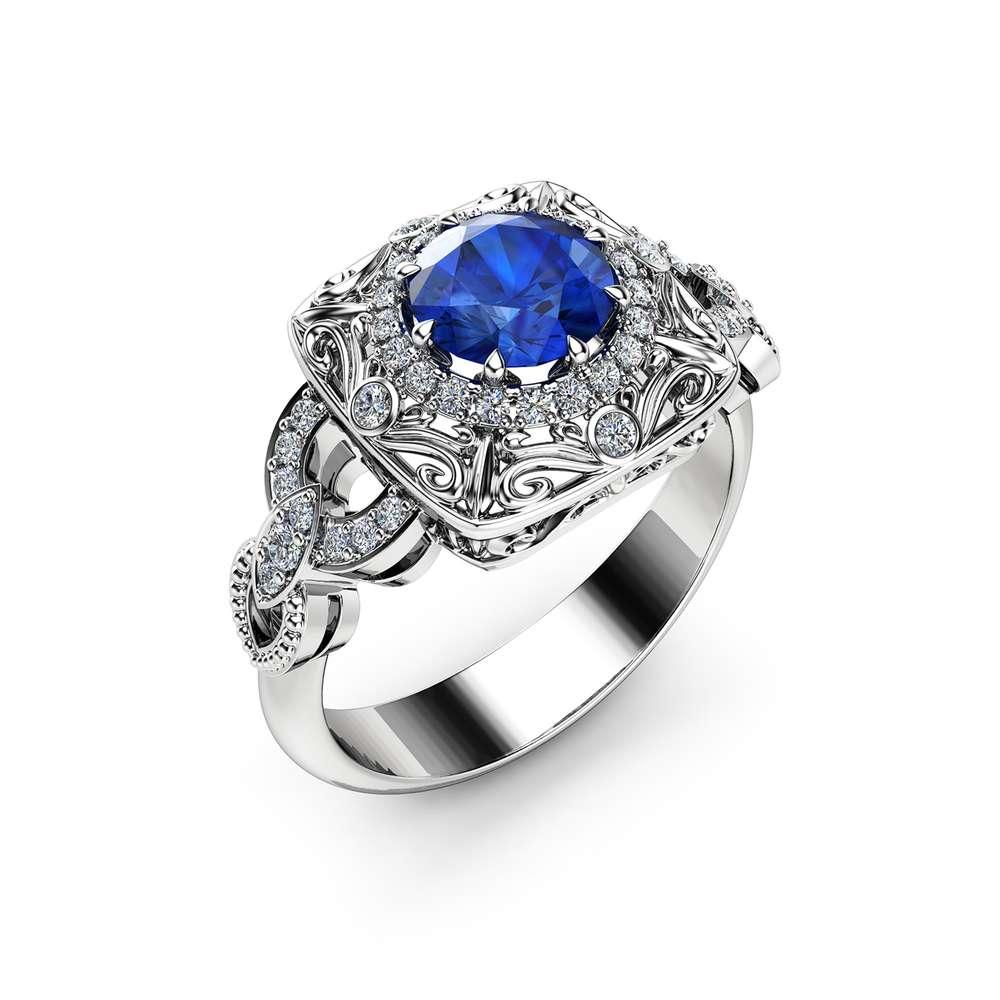 Halo Sapphire Victorian Engagement Ring 14K White Gold Diamond Halo Gemstone Ring Filigree Styled Engagement Ring