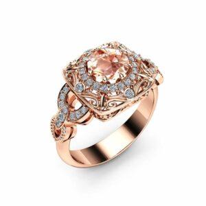 Victorian Morganite Engagement Ring Unique Victorian Engagement Ring 14K Rose Gold Ring Filigree Design Ring
