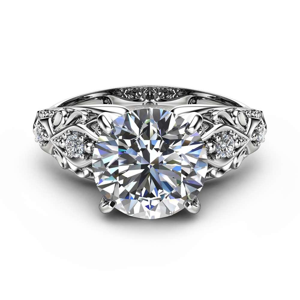 Unique Design Moissanite Engagement Ring Filigree 14K White Gold Engagement Ring Forever Brilliant Moissanite Ring