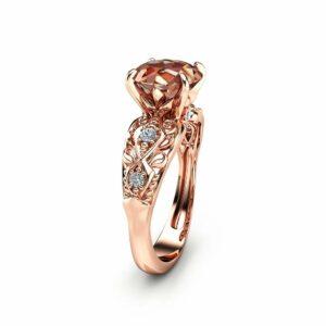 Peach Pink Morganite Engagement Ring 14K Rose Gold Engagement Ring Unique 2 Carat Morganite Ring Rose Gold Filigree Ring
