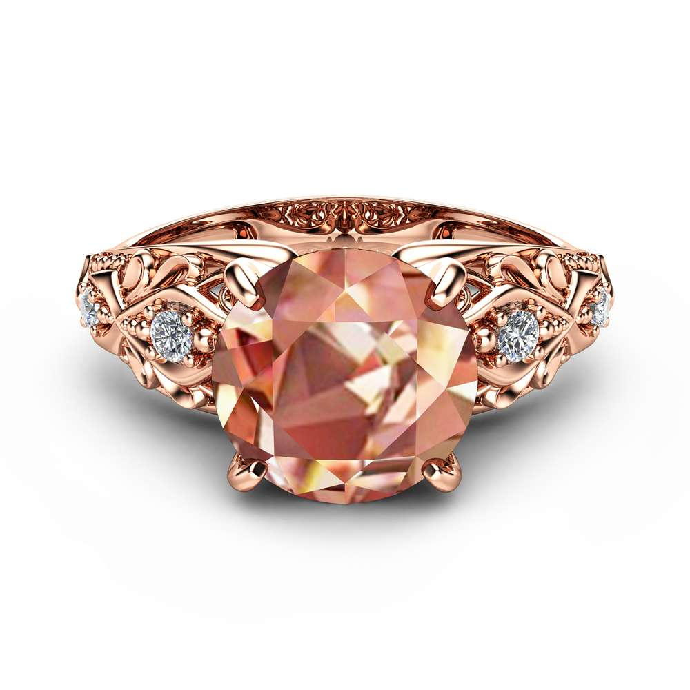 Peach Pink Morganite Engagement Ring 14K Rose Gold Engagement Ring Unique 2 Carat Morganite Ring Rose Gold Filigree Ring