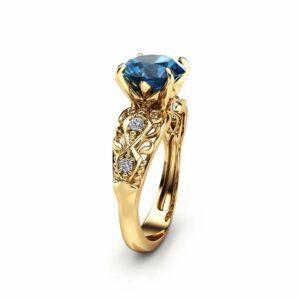 London Blue Topaz Engagement Ring 14K Yellow Gold Alternative Ring Unique 2 Carat Topaz Ring Filigree Engagement Ring