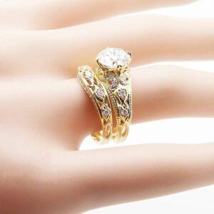 Yellow Gold  Moissanite Engagement Matching Rings Unique 2 Carat Moissanite  Ring Set Engagement Diamond Rings