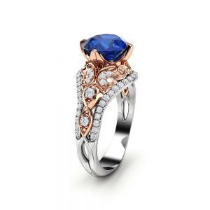 Unique Engagement Ring Blue Sapphire Engagement Ring 14K Two Tone Gold Vintage Ring