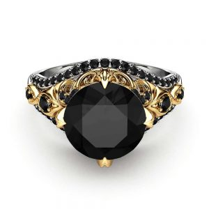 Unique Engagement Ring Black Diamond Ring 14K Two Tone Gold Ring Vintage Engagement Ring
