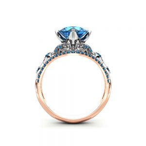 Blue Diamond Engagement Ring Vintage Engagement Ring Unique 14K Two Tone Gold Ring