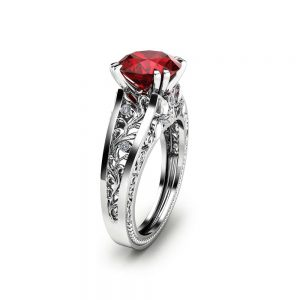 Unique 2CT Natural Ruby Ring Filigree  Ruby Engagement Ring Solid 14K White Gold Ring