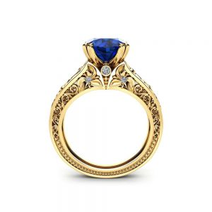Natural Sapphire Engagement Ring Unique 2 Carat Sapphire Ring in 18K Yellow Gold Art  Deco Engagement Ring