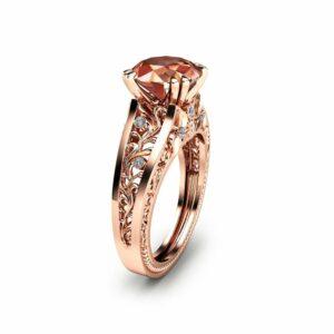 Rose Gold Morganite Engagement Ring Unique 2 Carat Morganite Ring in 14K Rose Gold Art  Deco  Engagement Ring