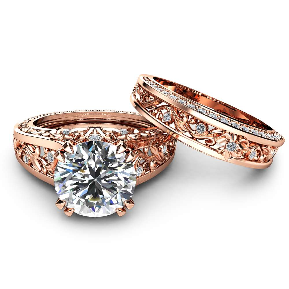 Moissanite Engagement Ring Set Unique 2 Carat Moissanite Ring with Matching Band 14K Rose Gold Engagement Rings