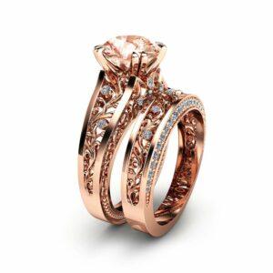 Rose Gold Morganite Engagement Ring Set Unique 2 Carat Morganite Ring with Matching Band 14K Rose Gold Engagement Rings