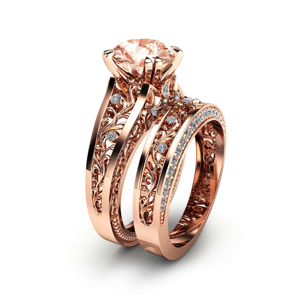 Rose Gold Morganite Engagement Ring Set Unique 2 Carat Morganite Ring with Matching Band 14K Rose Gold Engagement Rings