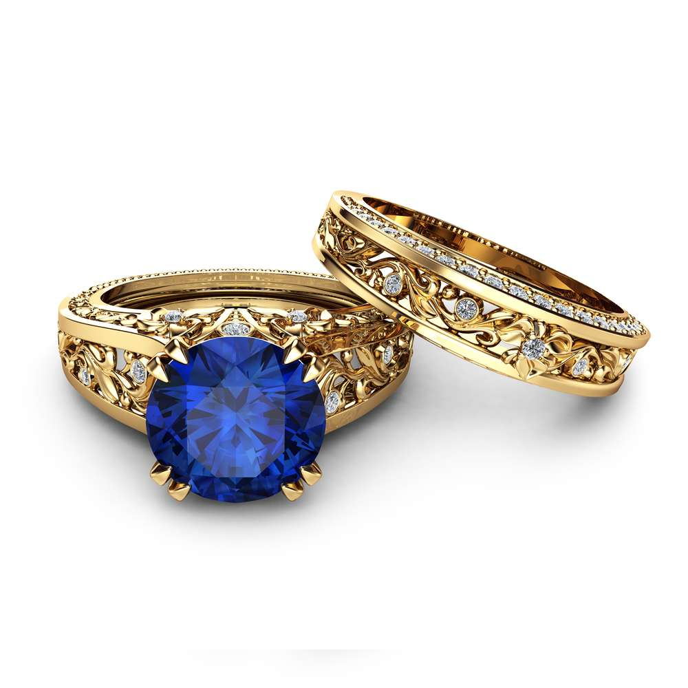 Natural Sapphire Engagement Ring Set Unique 2 Carat Sapphire Ring with Matching Band 14K Yellow Gold Engagement Rings