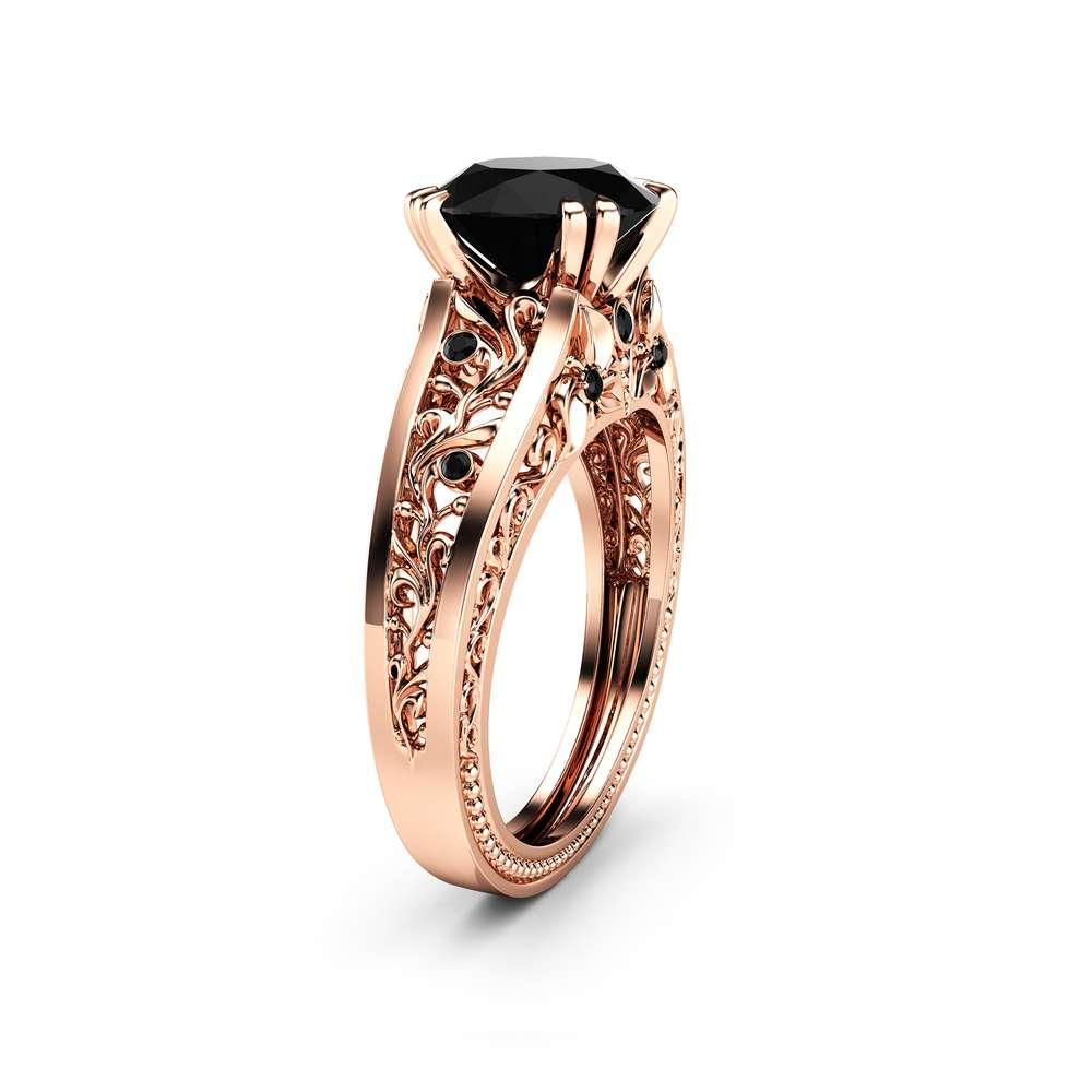 Handmade Black Diamond Engagement Ring 14K Rose Gold Filigree Ring Black Diamond Engagement Ring
