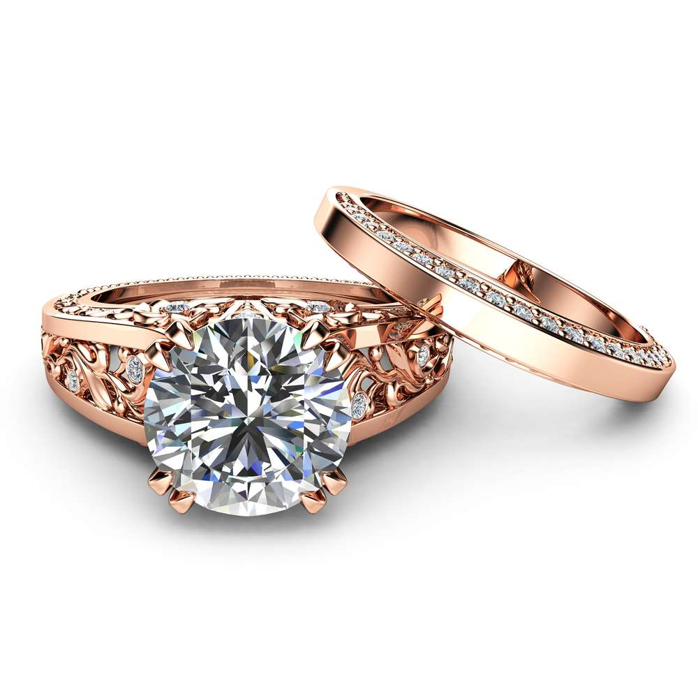 Rose Gold Moissanite Engagement Ring Set Unique 2 Carat Moissanite Ring with Matching Band 14K Rose Gold Engagement Rings