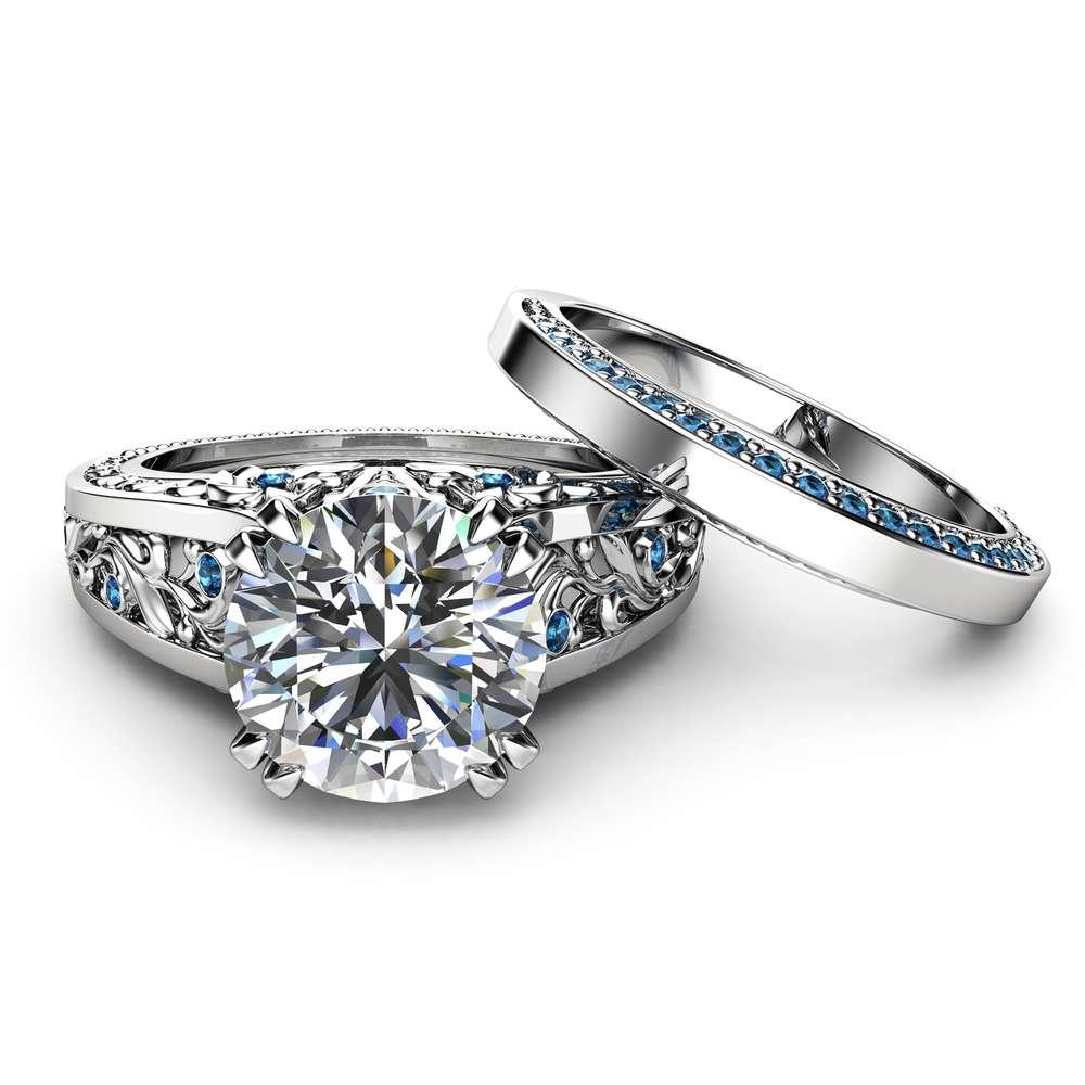 Blue Diamonds Moissanite Engagement Ring Set 14K White Gold Engagement Rings Unique 2 Carat Moissanite Ring with Matching Band