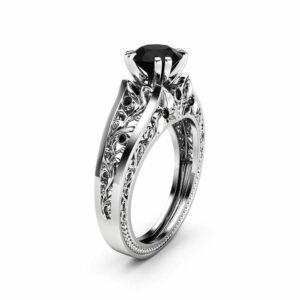 1 Carat Black Diamond Unique Engagement Ring 14K White Gold Filigree Ring Conflict Free Natural Black Diamond Ring