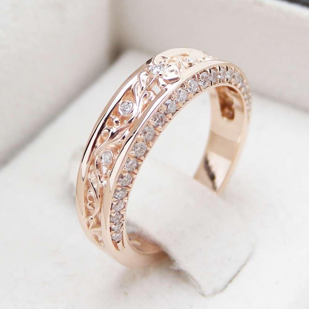Rose Gold Diamond Wedding Band Half Eternity Engagement Band Filigree Wedding Diamond Ring