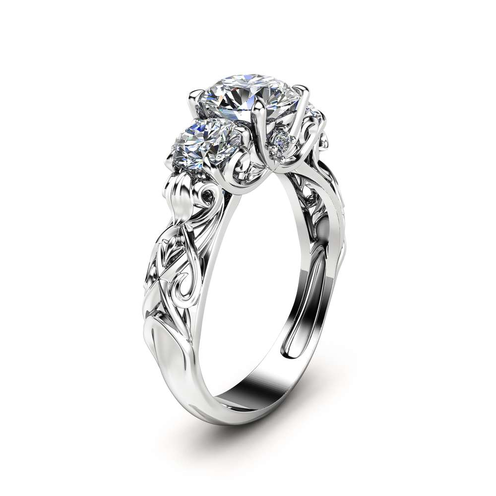 Three Stone Moissanite Engagement Ring Unique Engagement Ring in 14K White Gold Forever Brilliant  Moissanite Ring Art Deco Styled Band