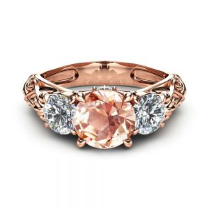 Peach Pink Morganite Engagement Ring Unique Three Stone Engagement Ring in 14K Rose Gold Filigree Ring with Morganite and Moissanite