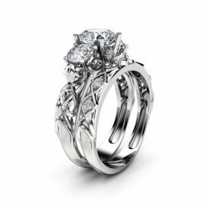 Unique Three Stone Moissanite Bridal Set 14K White Gold Rings Forever Brilliant  Moissanite Rings Art Deco Styled Natural Diamonds Band
