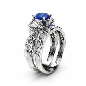 Three Stone Sapphire Moissanite Bridal Set 14K White Gold Rings Art Deco Rings Natural Diamonds Band