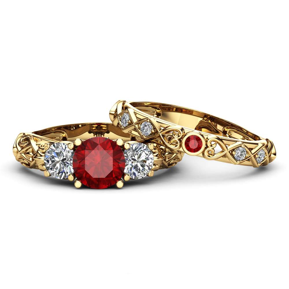 Unique Ruby And Moissanite Three Stone Bridal Set 14K Yellow Gold Rings Art Deco Styled Natural Diamonds Band