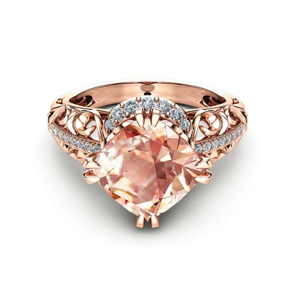 Cushion Cut Morganite Ring in 14K Rose Gold Unique Engagement Ring Cushion Cut Engagement Ring Art Deco Ring with 2 Carat Morganite
