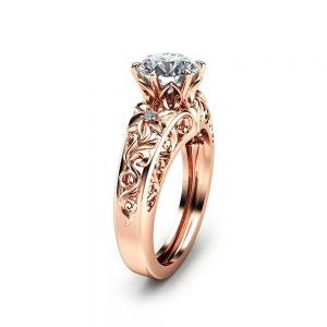 Round Moissanite Engagement Ring Unique 14K Rose Gold Ring Art Deco Styled Engagement Ring