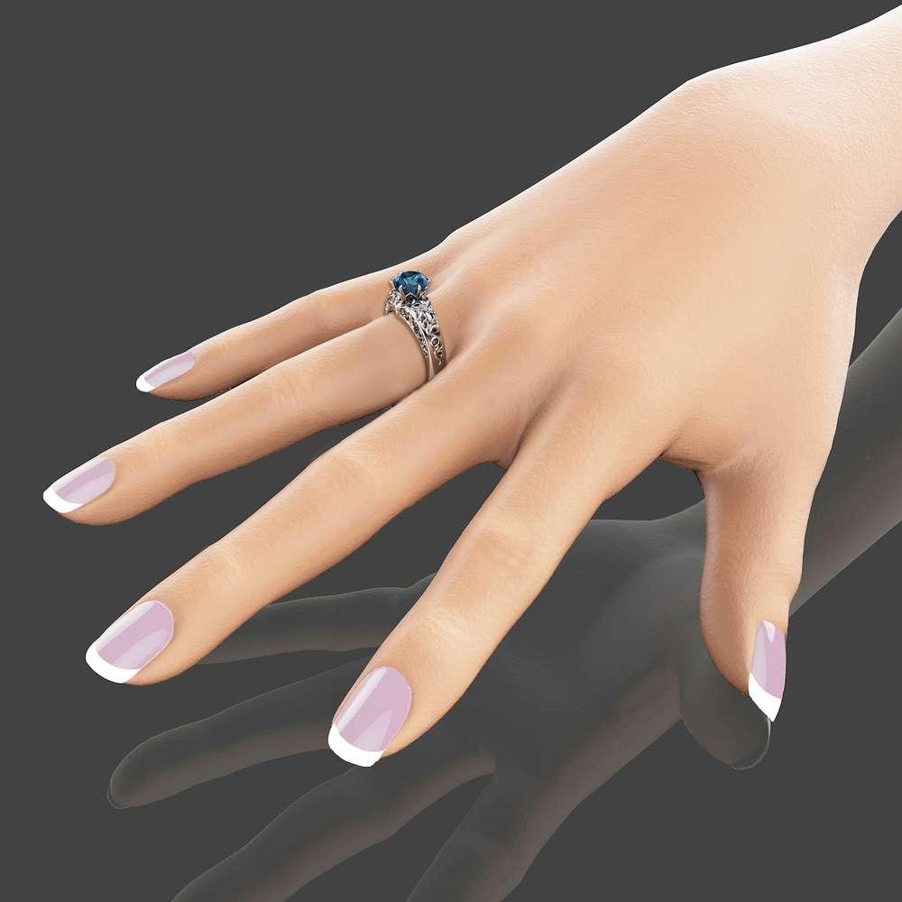 London Blue Topaz Engagement Ring Unique Topaz Ring in 14K White Gold Custom Design Engagement Ring
