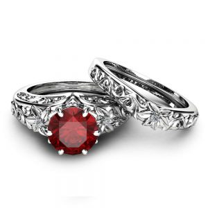 Natural Ruby Engagement Ring Set Wedding Ruby Ring with Matching Band 14K White Gold Ruby Rings Unique Engagement Rings