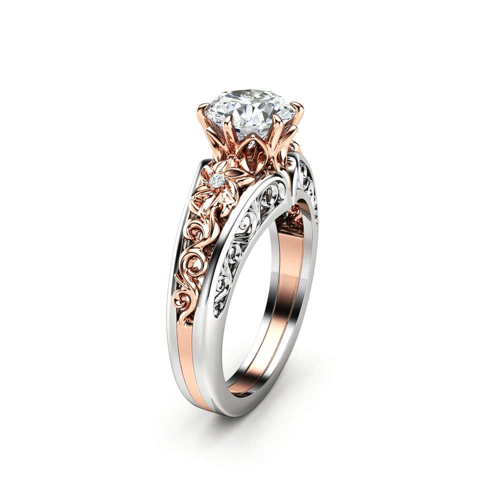 Unique Engagement Ring 14K Two Tone Gold Ring Moissanite Ring Flower Engagement Ring