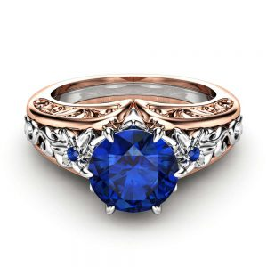Blue Sapphire Engagement Ring 14K Two Tone Gold Ring Unique Art Deco Flower Engagement Ring
