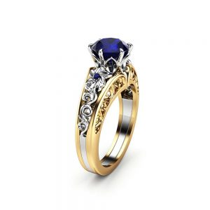 Blue Sapphire Engagement Ring 14K Two Tone Gold Ring Unique Flower Art Deco Engagement Ring