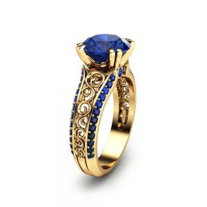 2 Carat Blue Sapphire Custom Ring 14K Yellow Gold Sapphire Ring Unique Custom Ring  Art Deco 2 Carat Ring
