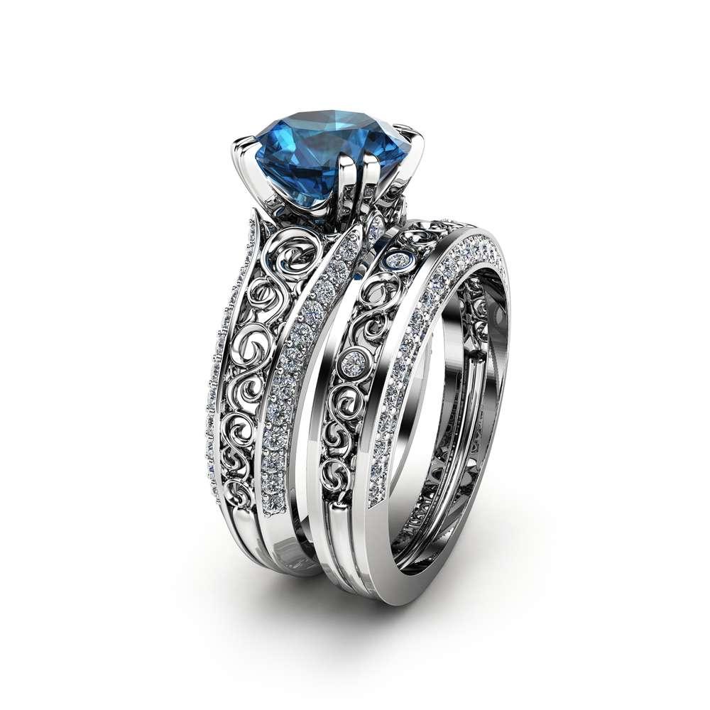 London Blue Topaz Engagement Ring Set 2 Carat Topaz Bridal Set Unique 14K White Gold Rings Art Deco Engagement Rings