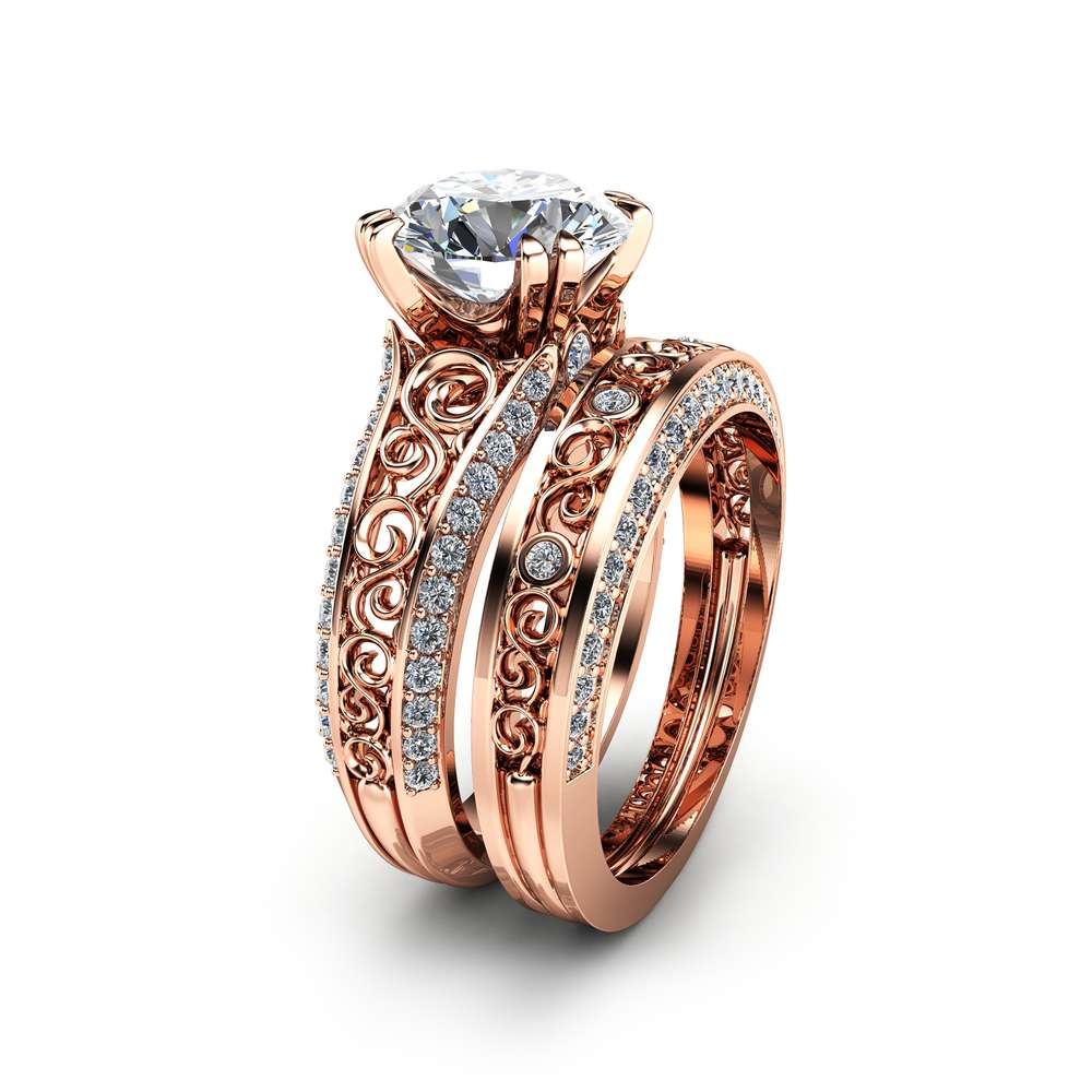 2 Carat Moissanite Engagement Ring Set Forever Brilliant Moissanite Bridal Set Unique 14K Rose Gold Engagement Rings