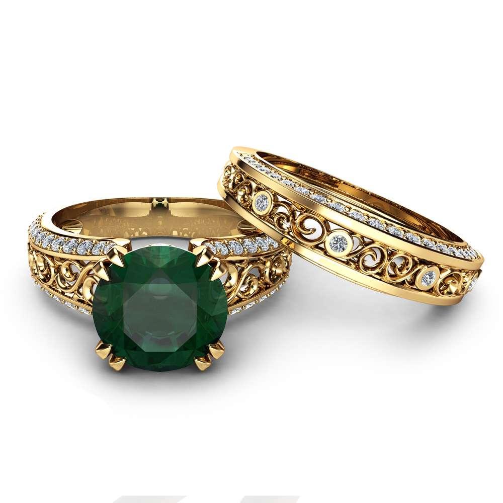 2 Carat Emerald Engagement Ring Set Unique 14K Yellow Gold Rings Emerald Bridal Set Filigree Engagement Rings