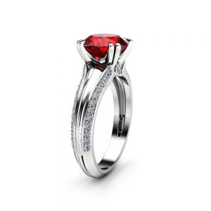 Natural Ruby Engagement Ring Unique 14K White Gold Engagement Ring Round Cut Ruby Ring