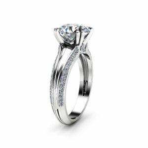 Victorian Moissanite Engagement Ring 14K White Gold Ring Unique 2.0 Carat Moissanite Engagement Ring