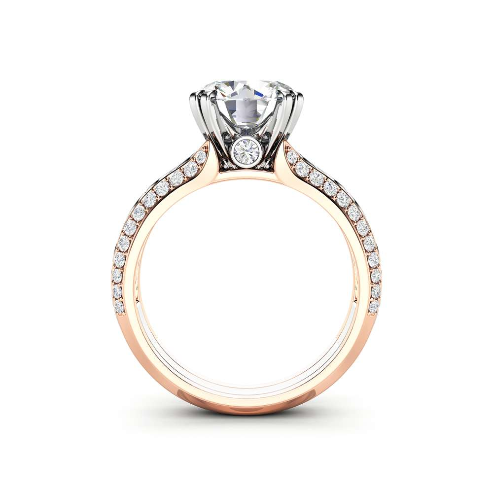 Unique Engagement Ring 14K Two Tone Gold Ring Moissanite Ring Vintage Engagement Ring