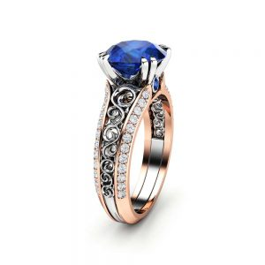 Blue Sapphire Engagement Ring 14K Two Tone Gold Unique Ring Art Deco Engagement Ring