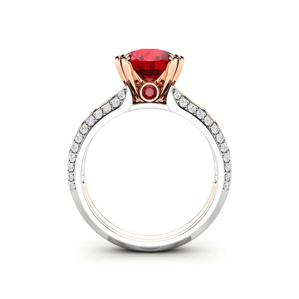 Ruby Engagement Ring 14K Two Tone Gold Ring Unique Art Deco Engagement Ring