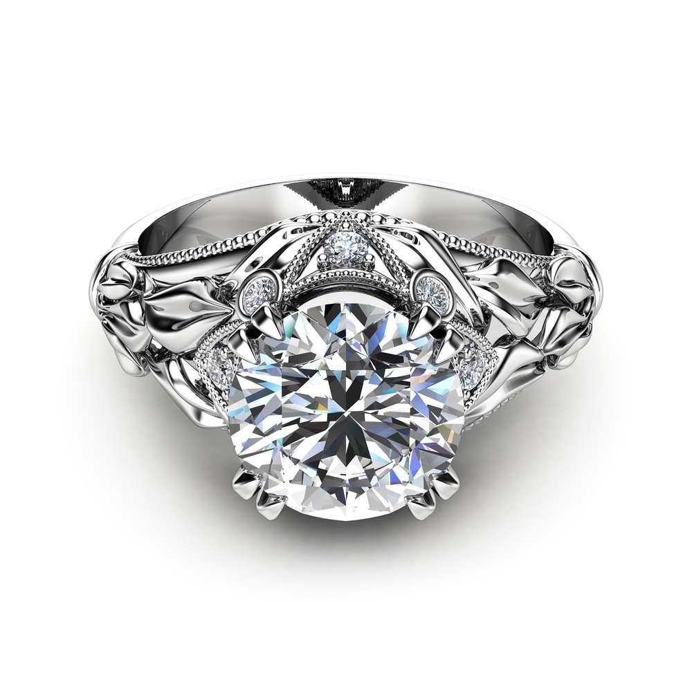 Moissanite Leaf Engagement Ring 14K White Gold Leaf Moissanite Ring Custom Engagement Ring